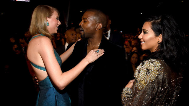 Taylor Swift, Kanye West,Kim Kardashian at 2015 Grammys32429856