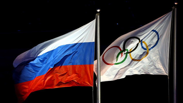 Russian and Olympic flags82017486