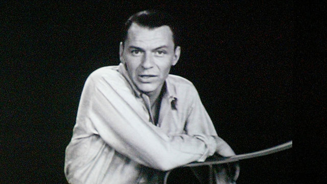 Frank Sinatra image on video screen79970512