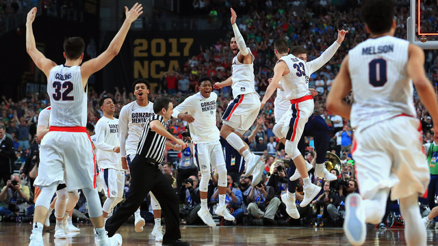 Gonzaga celebrates after beating South Carolina in 2017 final four28984008