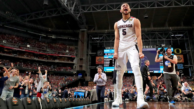 Gonzaga player celebrates victory over South Carolina Final Four 201744835566