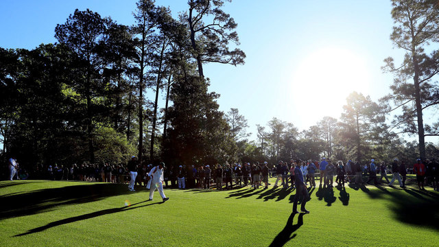 Brendan Steele walks second hole during 2017 Masters first round70805182