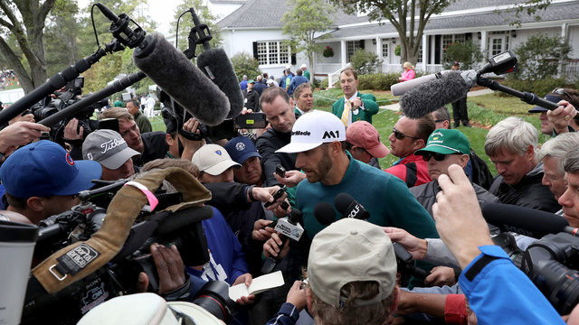 Dustin Johnson after withdrawing from 2017 Masters39864104
