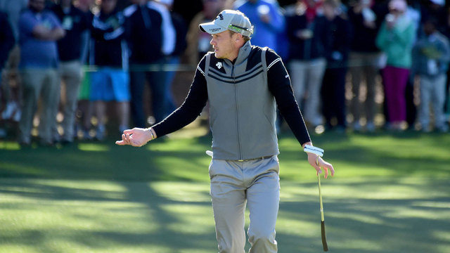 Danny Willett reacts on first hole of 2017 Masters second round40417331
