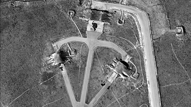 Syria airfield: Before and after