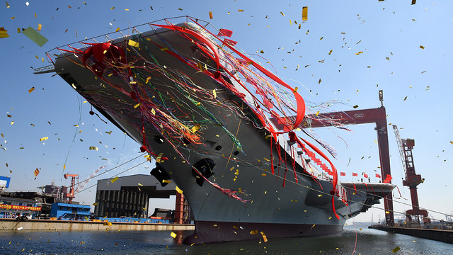 China launches its 1st home-built aircraft carrier