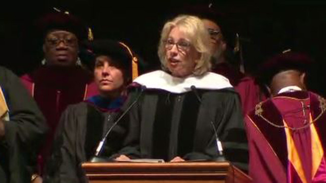 Betsy DeVos met with boos and disruptions during commencement speech at Florida college