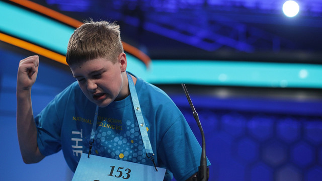 Casper Smith of Clayton, North Carolina, gestures after he misspelled his word during round three of 2017 Scripps National Spelling Bee68193141