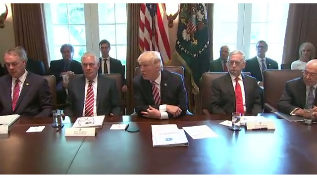 Cabinet Praises Trump at First Formal Meeting