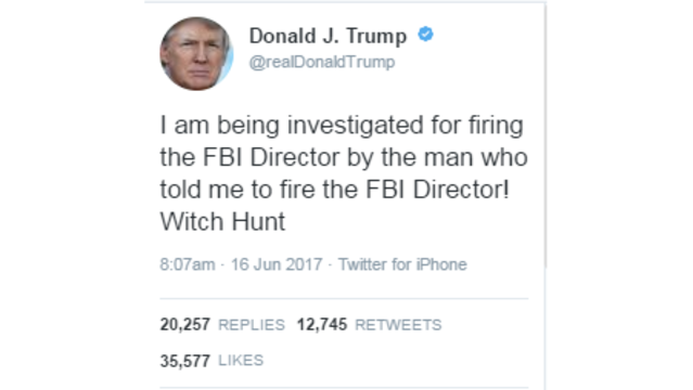 Trump says he is being investigated over Comey firing