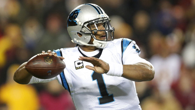 Cam Newton passing ball in December 201684892553
