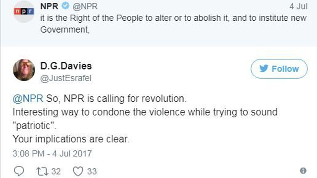 Some misconstrue Declaration of Independence tweets by NPR