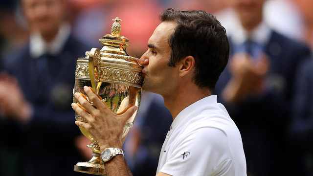 Roger Federer wins Wimbledon 8th title, July 16, 201756841909