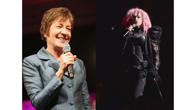Sen. Susan Collins joins Cyndi Lauper on stage in Maine