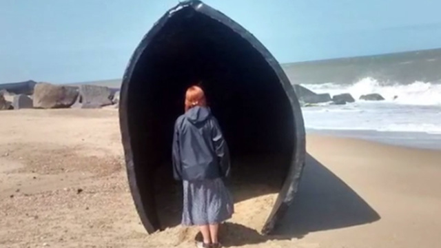 Giant pipes wash up on United Kingdom beaches