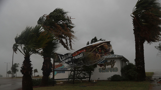 Hurricane Harvey, Corpus Christi, Texas, sign blows in wind61067424