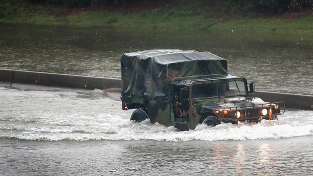 Military truck in flooding, Hurricane Harvey13533008