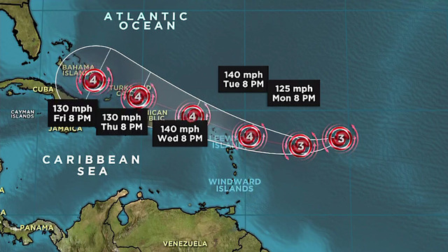 Powerful Hurricane Irma headed west in the Atlantic