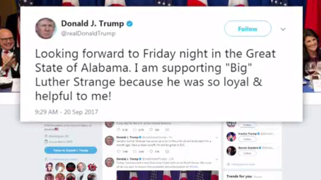Trump touts his Twitter use at Alabama rally