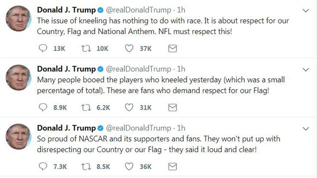 Trump's tweets on national anthem, NASCAR08337008