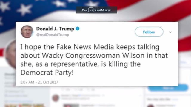 President Donald Trump tweet on Frederica Wilson, Gold Star call, Twitter, US soldier widow conversation_1508606327868.jpg00924249