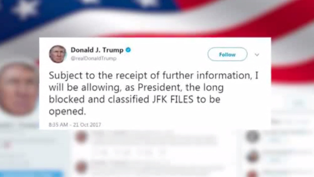 President Donald Trump tweet on JFK files, twitter, John F. Kennedy Jr. assassination_1508606059989.jpg04525845
