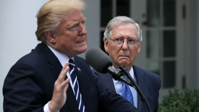 Donald Trump and Mitch McConnell, Senate Majority Leader, in Rose Garden64938164