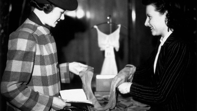 woman buying nylons in early 1940s44486014