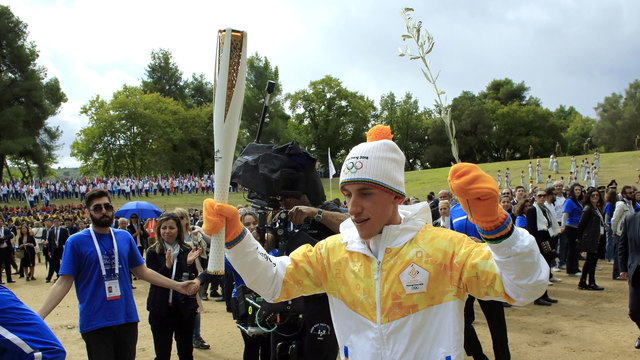 2018 Olympic flame lighting 1343940037
