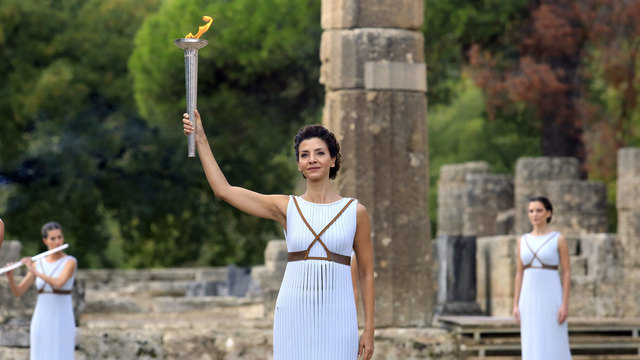2018 Olympic flame lit in ancient Olympia