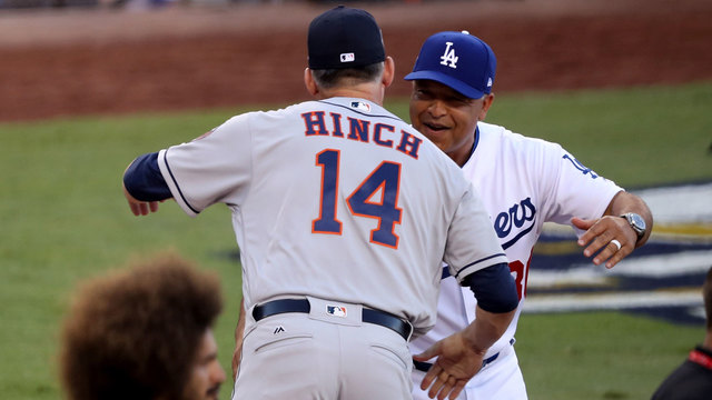 AJ Hinch, Dave Roberts before Game 1 of 2017 World Series16769510