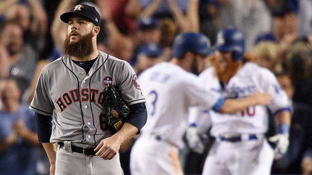 Dallas Keuchel reacts to Justin Turner's home run during Game 1 of 2017 World Series28466157