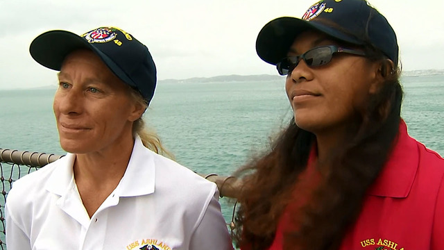 US Navy ship with 2 women rescued at sea reaches Japan
