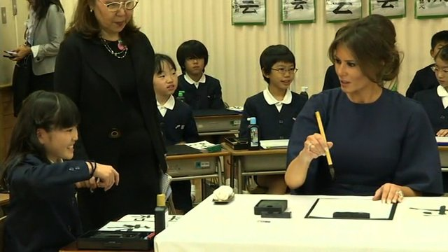 melania trump japan students calligraphy98083520