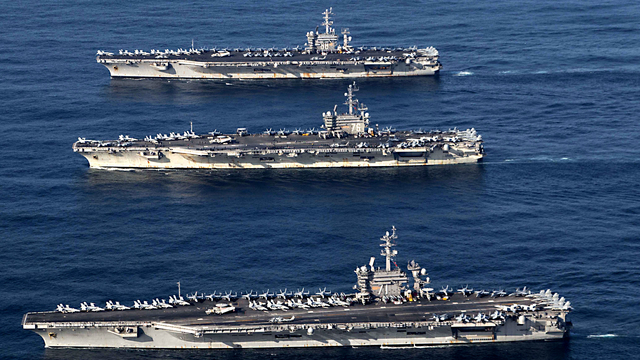 Three US aircraft carriers to join show-of-force drills with S