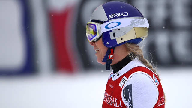 Vonn crashes as Shiffrin scores first downhill podium in Lake Louise