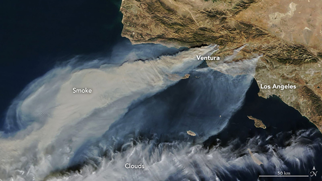 What California's wildfires look like from space