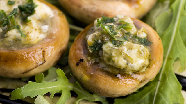 Basil pesto stuffed mushrooms