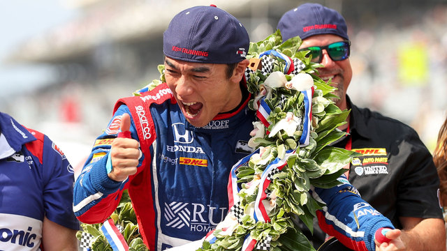Takuma Sato celebrates winning Indianapolis 50076808595