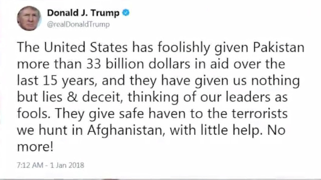 Trump's first 2018 tweet: Pakistan 'given us nothing but lies'