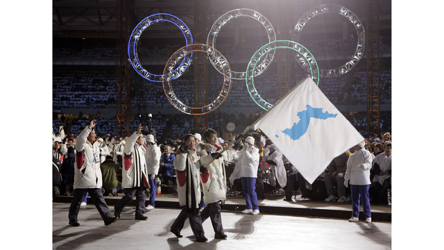 North Korean orchestra, maybe joint hockey team at Olympics