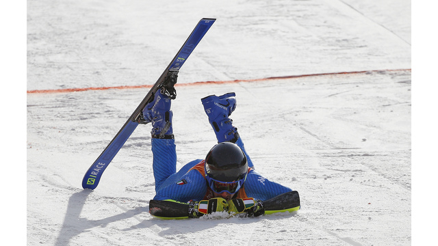 The Latest 2 racers crash in Olympic men's giant slalom