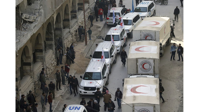 Aid convoy unloaded all aid in Syria's eastern Ghouta, Red Cross says