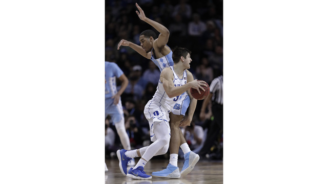 Duke's Grayson Allen hip checks Garrison Brooks in ACC semifinals