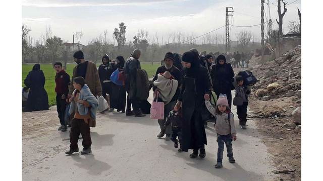Thousands Of Civilians Flee Offensives In Syria's Ghouta, Afrin Regions