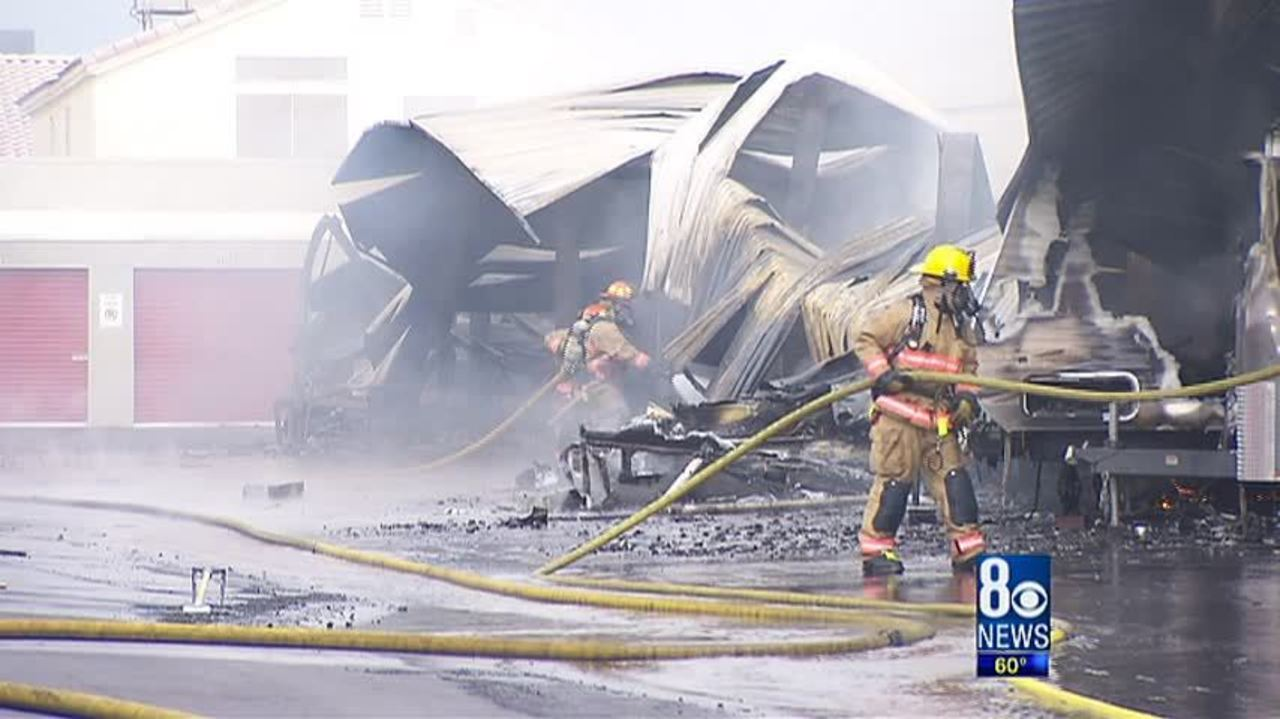 Trailers, RVs Go Up In Flames At Summerlin Storage Facility   LASVEGASNOW