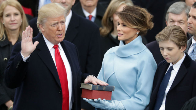 Donald Trump being sworn in as president91790840