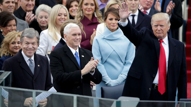 President-elect Donald Trump waves to crowd at inauguration90275811