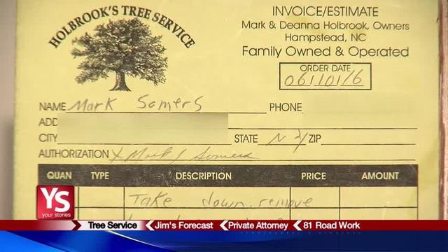 Customers Say Tree Service Contractor Took Money Without Doing Work - Tree service invoice