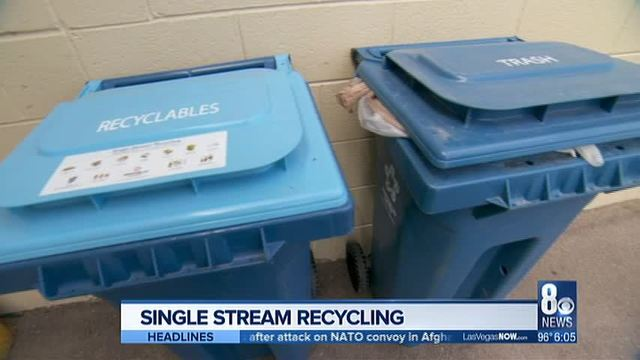 Both Recycling And Trash Bins Are Shown In A Northwest Las Vegas Neighborhood On Thursday
